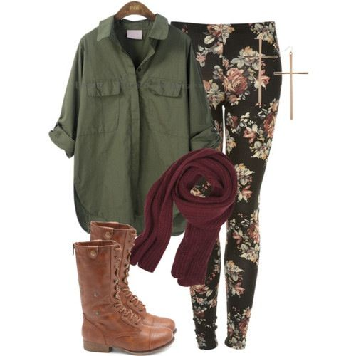 Green Browse and Floral Leggings