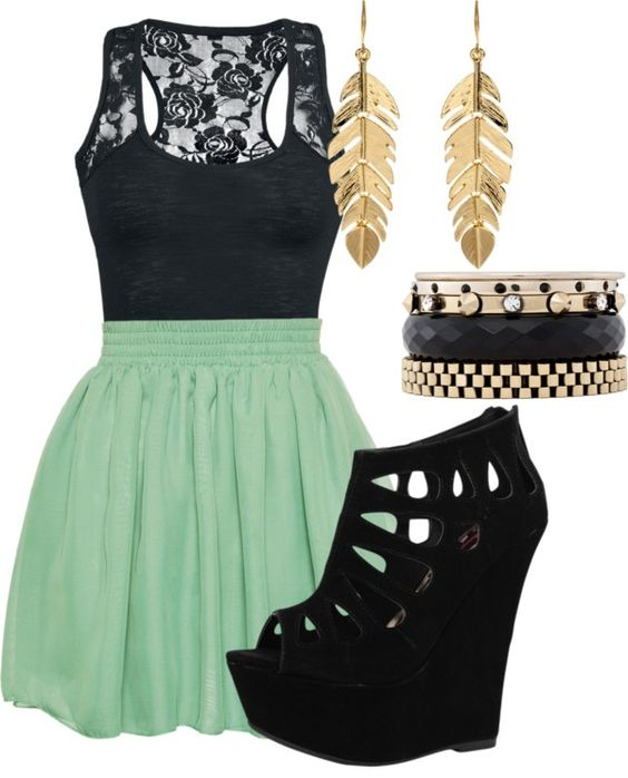 Green Skirt and Black Wedges