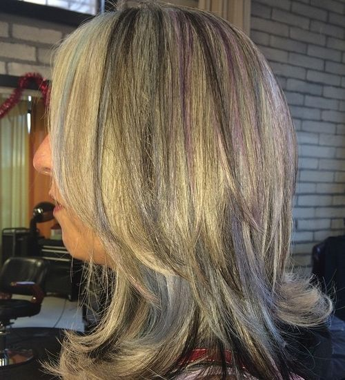Grey Hair with Purple Highlights