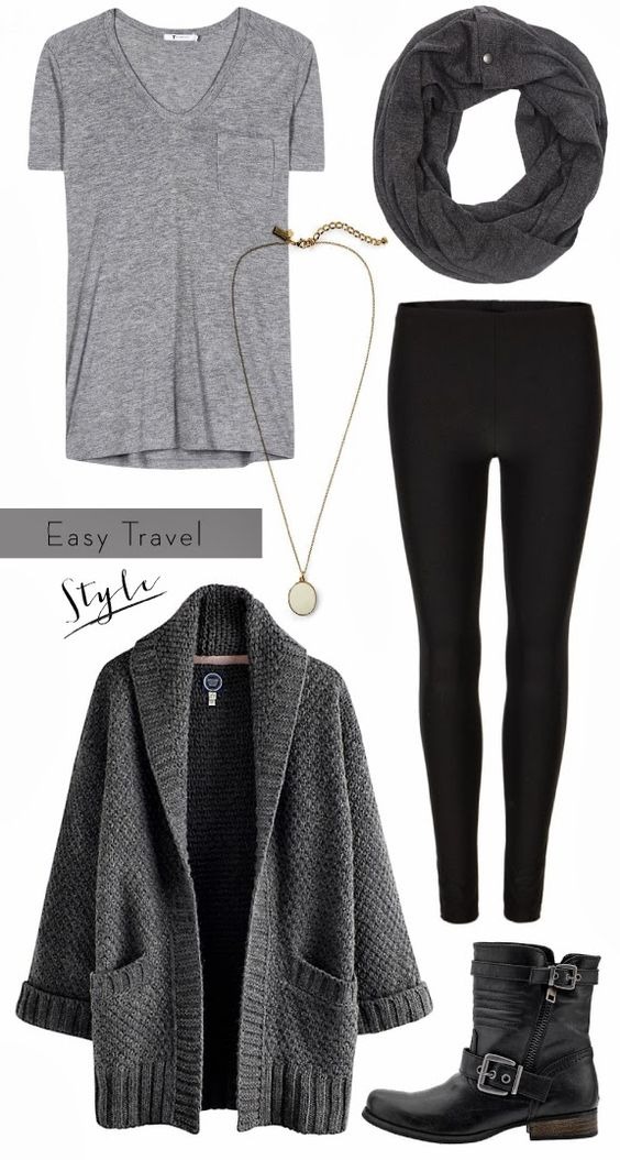 Grey Sweater Coat and Black Leggings