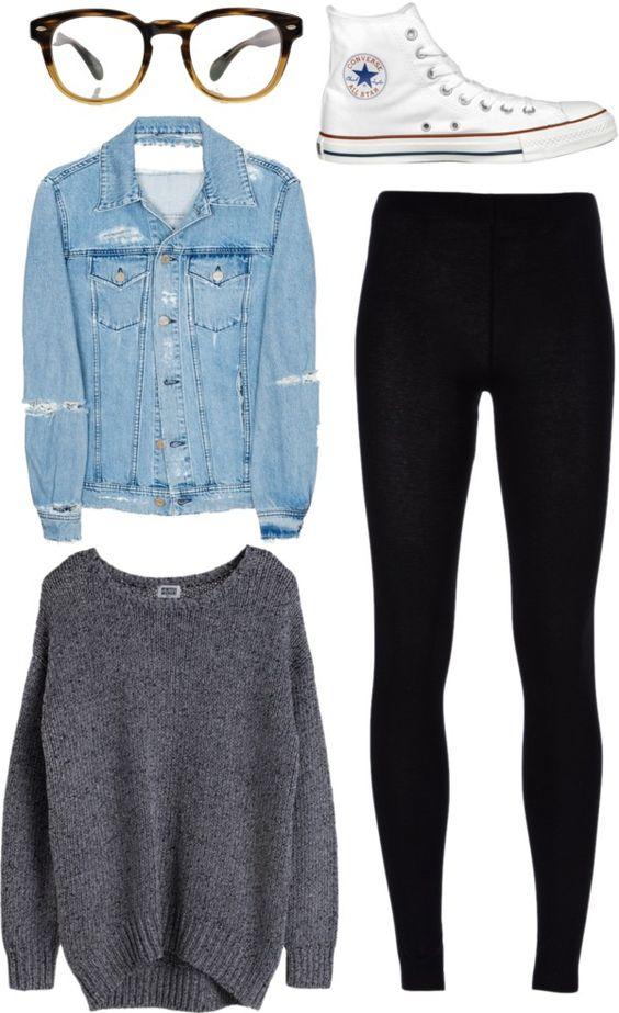 Grey Sweater and Black Leggings