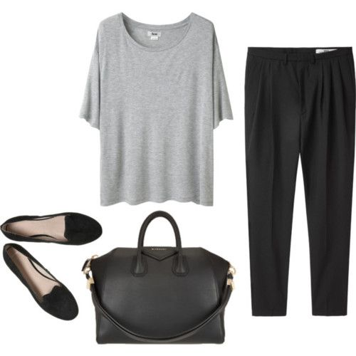 Grey Tee, Black Pants and Black Flats