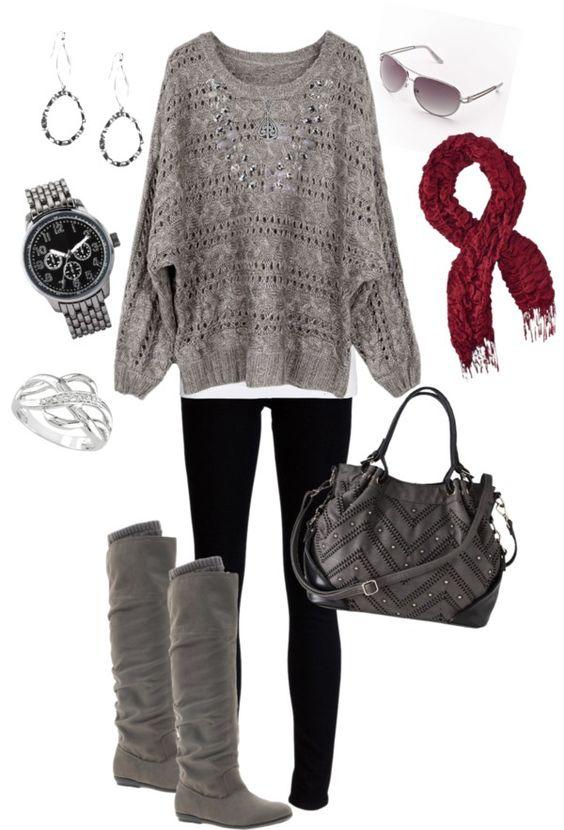 Grey Top, Black Leggings and Red Scarf