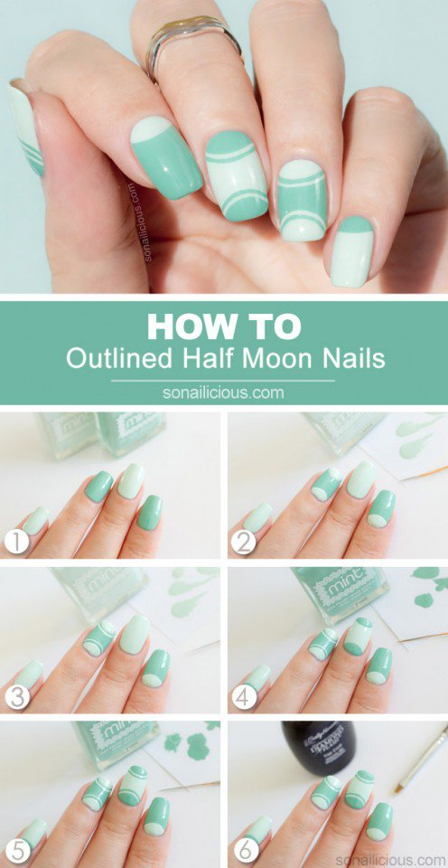 Half Moon Nail Design Tutorial