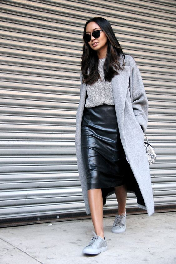 Leather Skirt and Grey Sneakers