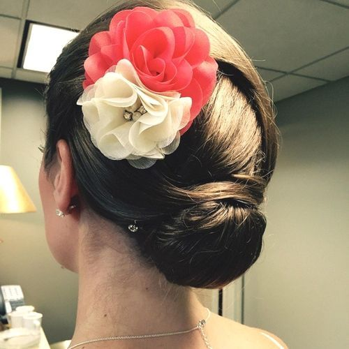 Low Bun with Flowers