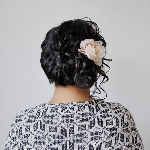 Messy Updo with Flowers