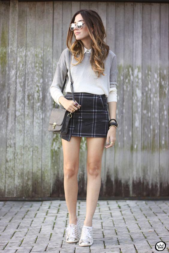 Mini Plaid Skirt and Sneakers