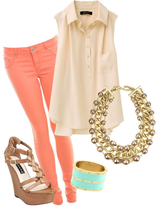 Nude Top, Orange Pants and Wedges