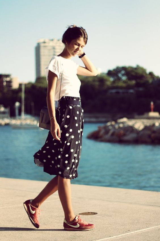 Polka Dot Skirt and Sneaker