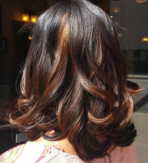 Pretty Highlighted Mid-length Curls