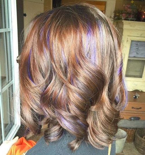 Purple Highlights for Curly Bob