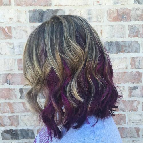 22 sassy purple highlighted hairstyles for short medium long purple highlights in brown hair pmusecretfo Image collections