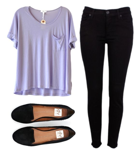 Purple Tee, Black Pants and Black Flats
