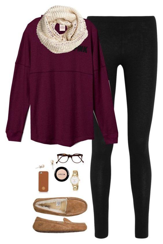 Purple Top, Black Leggings and White Scarf