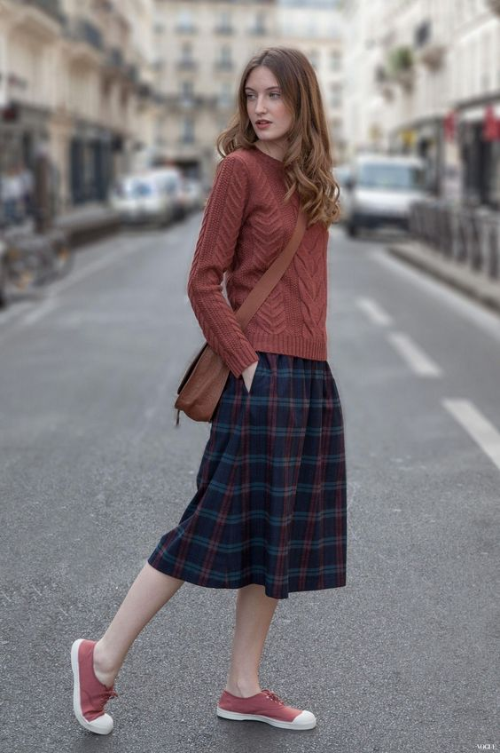 Red Sweater, Plaid Skirt and Sneakers