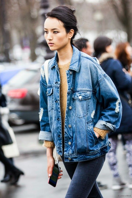 Ripped Denim Jacket and Sweater