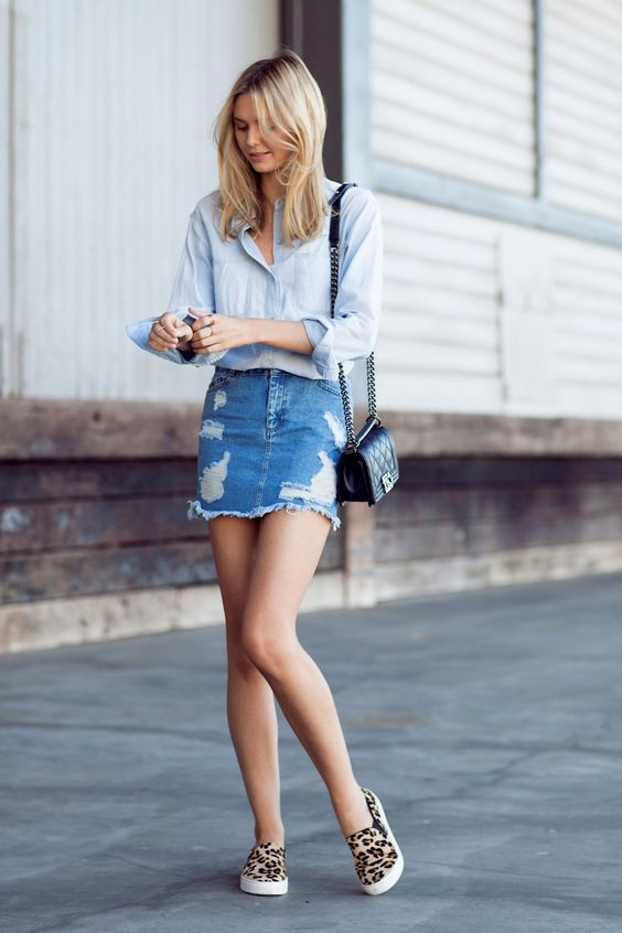 Ripped Skirt and Sneakers