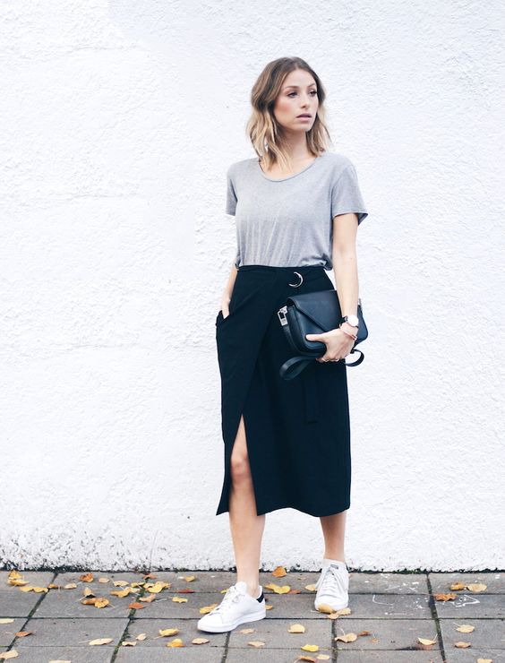 Skirt with Leak and Sneakers