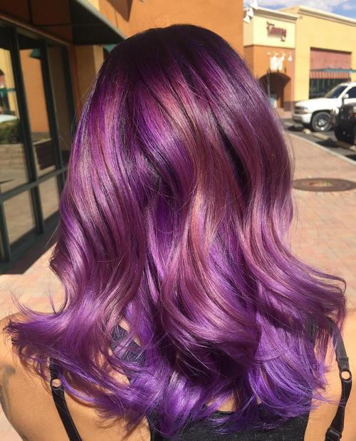 22 Sassy Purple Highlighted Hairstyles For Short Medium Long Hair