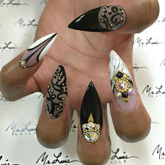 Stone Nail Art Design - 20 Magnificent Stone Nail Art Designs - Pretty Designs