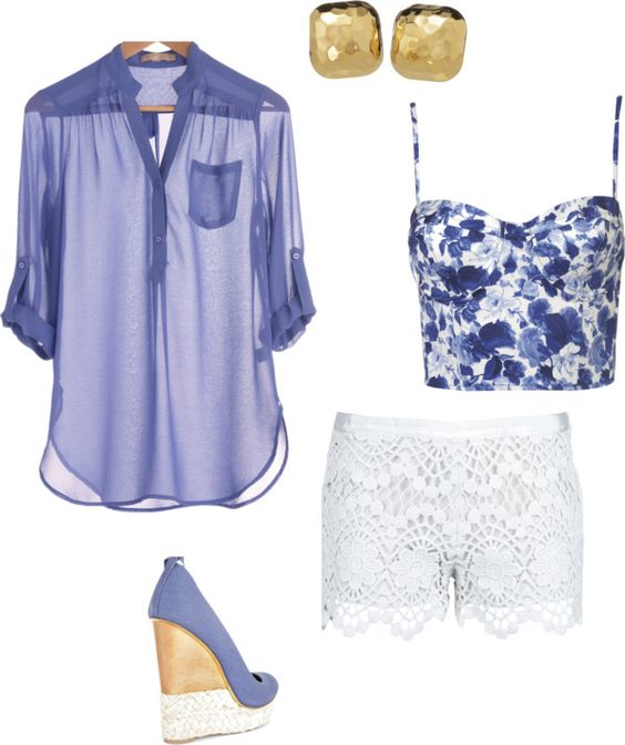 Stretchy Shirt, Lace Shorts and Wedges