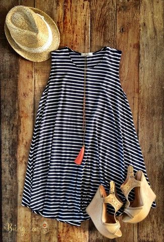 Strip Dress and Wedges