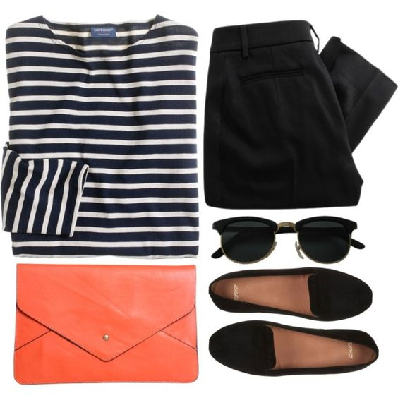 Striped Top, Black Pants and Black Flats