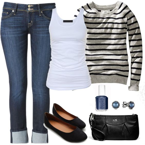 Striped Top, Cuffed Jeans and Black Flats