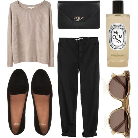 Sweater, Black Pants and Black Flats