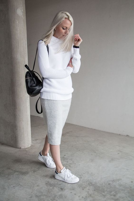 Sweater, Skirt and White Sneakers