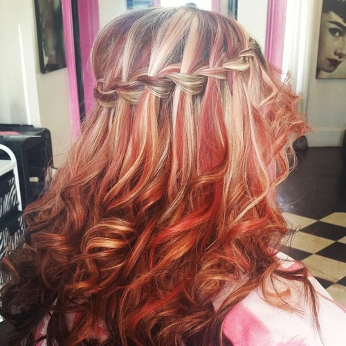 Waterfall Braid for Highlighted Hair