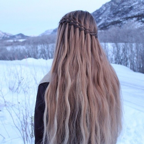 Waterfall Braid for Pale Brown Hair