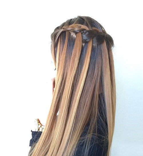 Waterfall Braid for Straight Hair