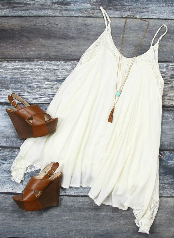White Flowy Dress and Brown Wedges