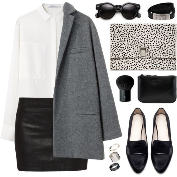 White Shirt, Black Skirt, Grey Coat and Black Flats