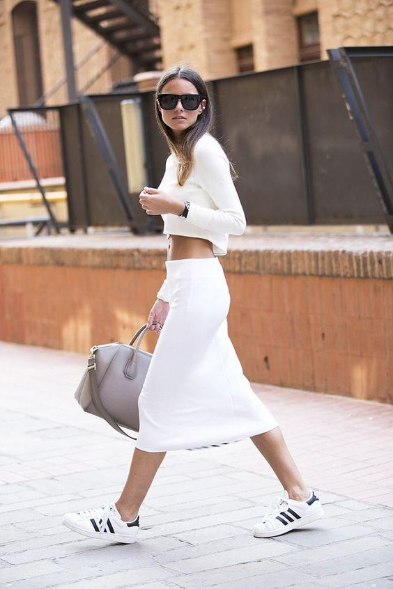 White Skirt and Sneakers