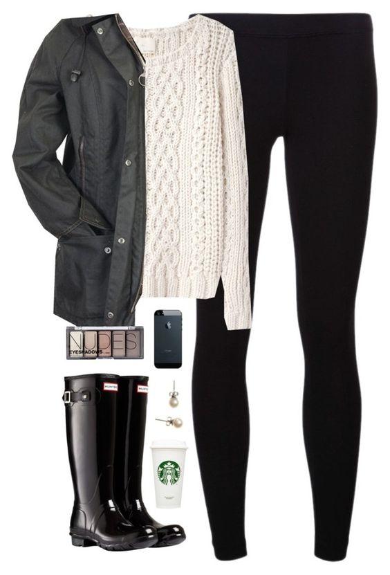 White Sweater, Black Coat and Leggings