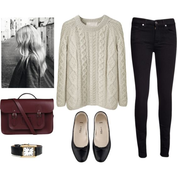 White Sweater, Black Skinnies and Black Flats