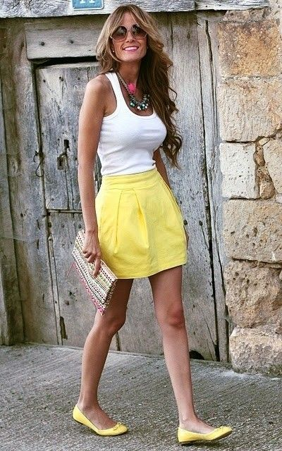 White Top, Yellow Skirt and Colorful Flats