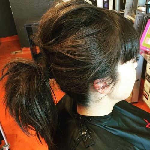 Black Ponytail with Blunt Bangs