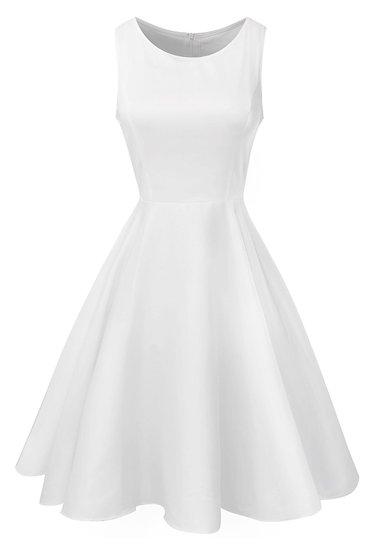 13 Great White Dresses To Wear Before Labor Day Jurk  Wrap dress Sheath dress Jurken Formal wear fashion dresses Confirmation dress Clothing Audrey Hepburn 19th-century fashion