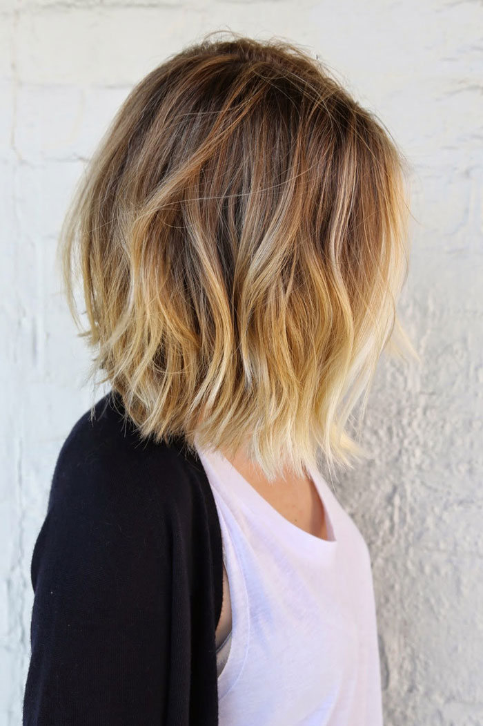 Balayage ombre hair for short hair