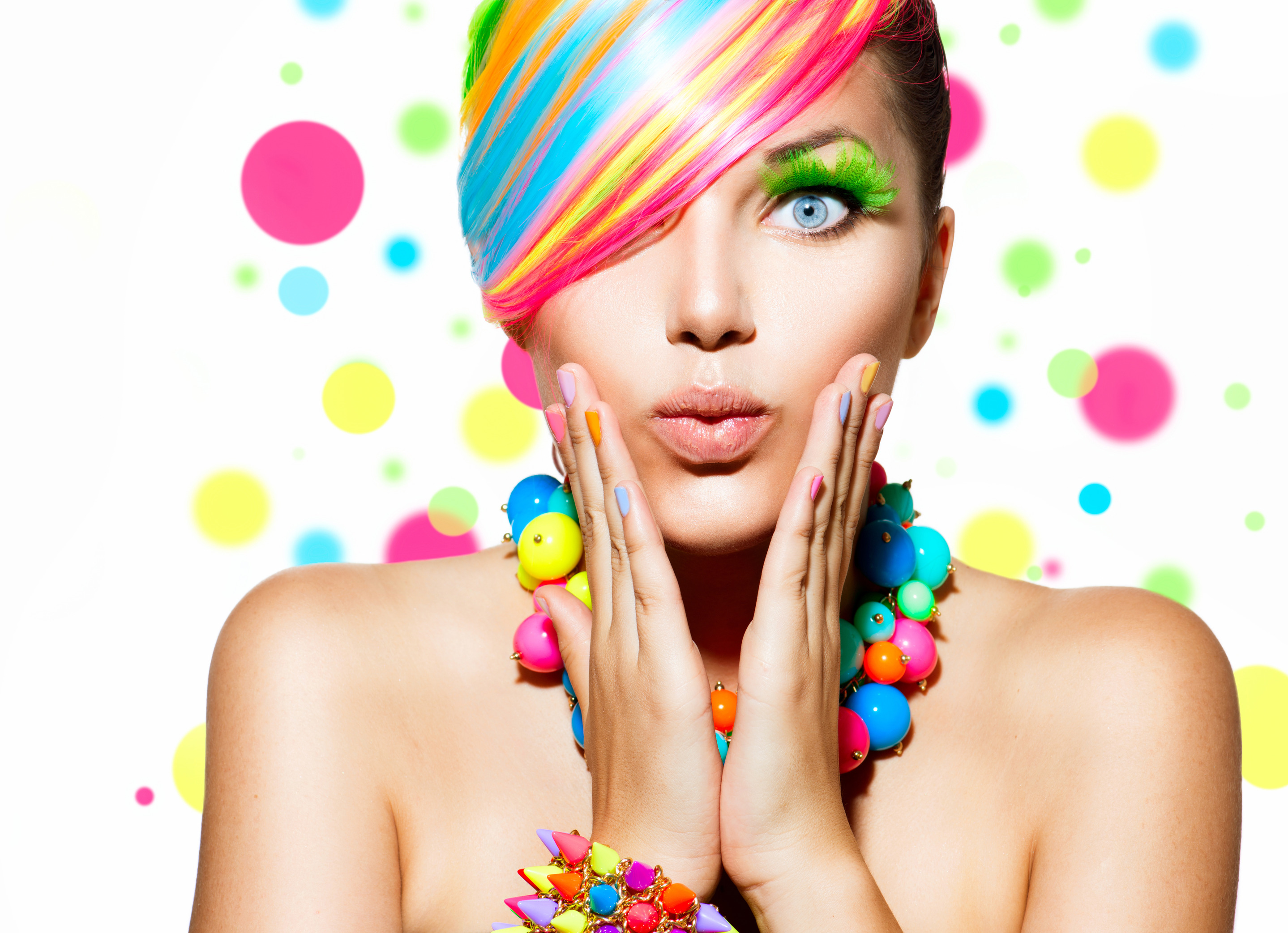 Beauty Girl Portrait With Colorful Makeup Hair And