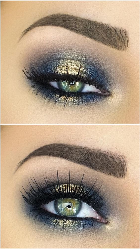 smoke eye in navy blue and gold - eye makeup