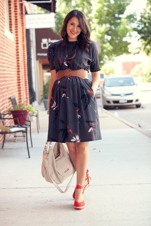 Black Dress with Feather Patterns via