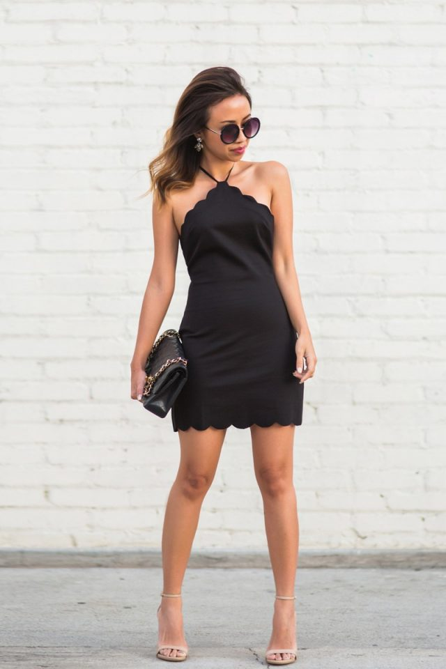 Black Scalloped Dress and Nude Sandals via