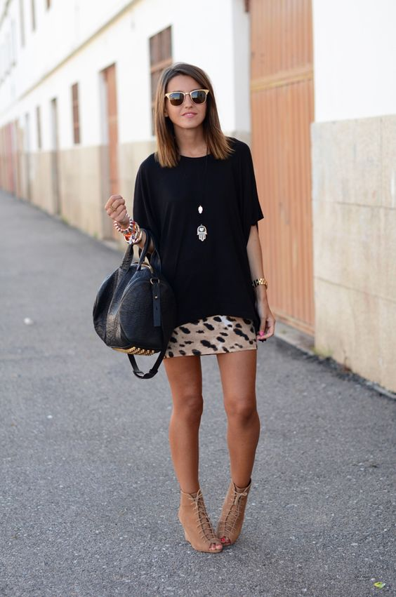Black T-shirt and Leopard Skirt via