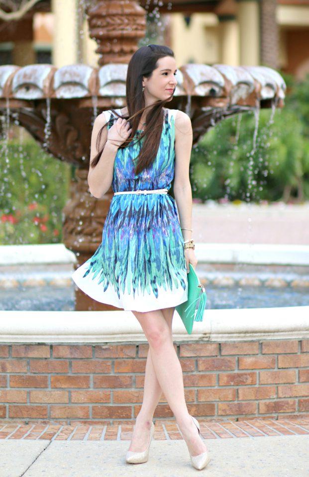 Blue Feather Dress via