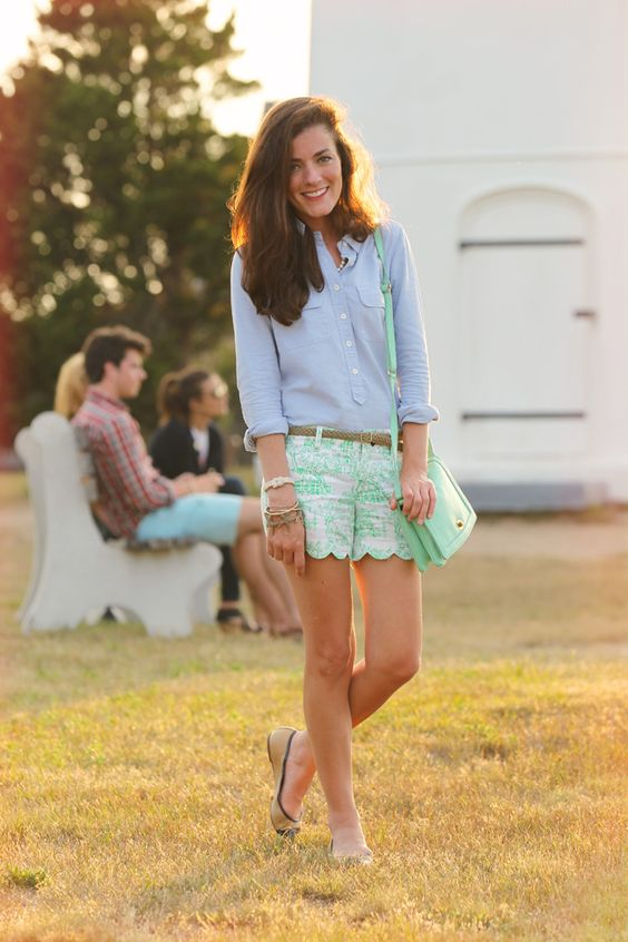 Blue Shirt and Green Shorts via